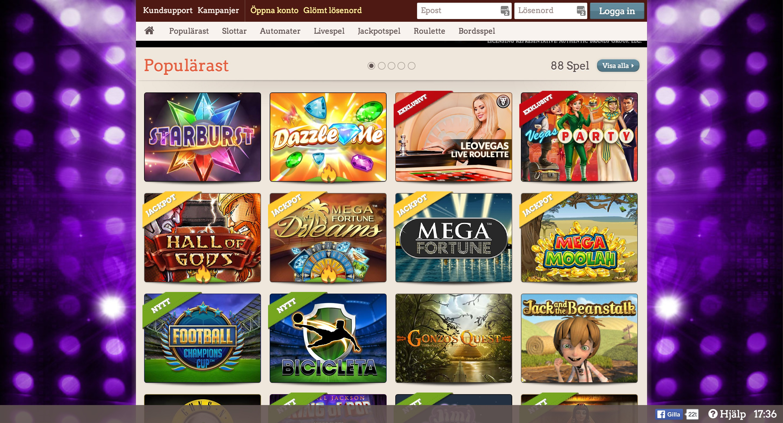 Leo Vegas Casino Lobby
